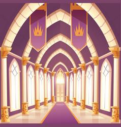 Palace hall castle column empty corridor interior vector