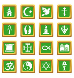 Religion icons set green square vector