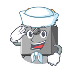 Sailor cartoon deep fryer in the kitchen vector