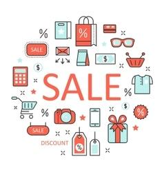Sale Discount Line Art Thin Icons Set vector image