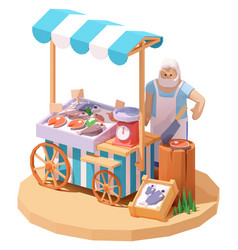 Seafood and fish market stall vector