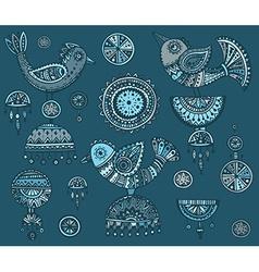 set hand drawn fancy birds in ethnic ornate vector image