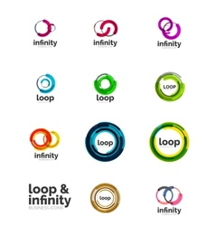 Set infinity and loop business logos vector