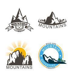 set mountains logo logo outdoor adventure in vector image