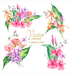 Set of tropical vintage floral bouquet vector
