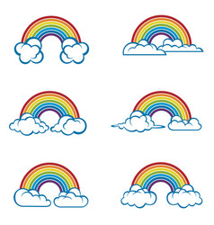 Set rainbow and clouds vector