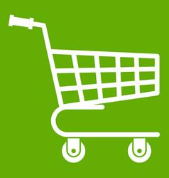 shopping cart icon green vector image