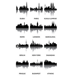 silhouettes of city panoramas vector image