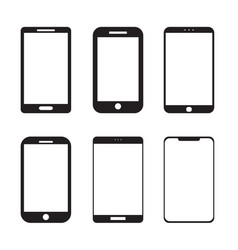 Simple mobile smart phone icon set vector