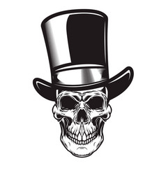 Skull in retro hat in engraving style design vector