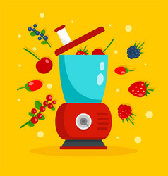 Smoothie blender concept background flat style vector