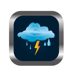 Square button with relief and rain storm weather vector