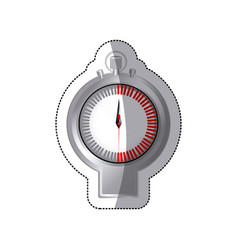 Sticker chrome stopwatch timer counter icon vector