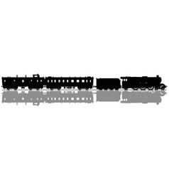 The black silhouette of a vintage steam train vector