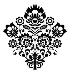 traditional polish folk pattern in black and white vector image
