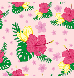 Tropical floral seamless pattern design vector