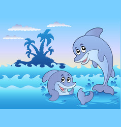 two dolphins playing in waves vector image