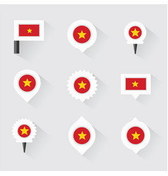 Vietnam flag and pins for infographic and map vector