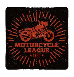 vintage grunge motorcycle league emblem design vector image vector image