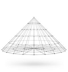 Wireframe polygonal geometric element Cone with vector