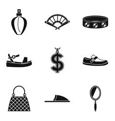 Women accessories icons set simple style vector