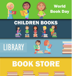World book day children library and bookstore vector