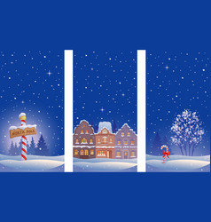 xmas night vertical banners vector image