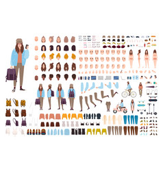 Young hipster woman creation kit collection of vector
