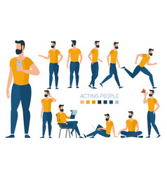 Young man character gestures and poses vector
