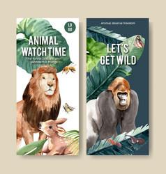 Zoo flyer design with lion gorilla bee watercolor vector