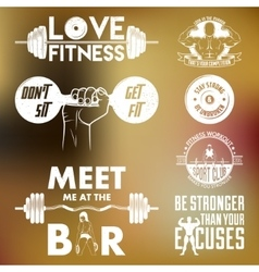Fitness set Vintage elements and labels vector image vector image