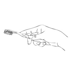 hand with toothbrush vector image vector image