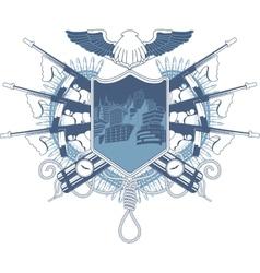 Mafia heraldic coat of arm with Tommy-gun vector image vector image