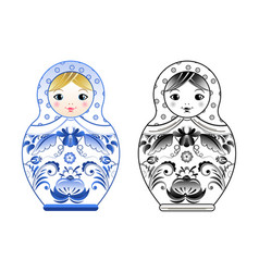 pictures of russian matryoshka painted at vector image
