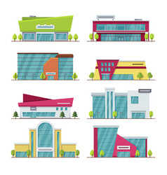 shopping center mall and supermarket modern flat vector image