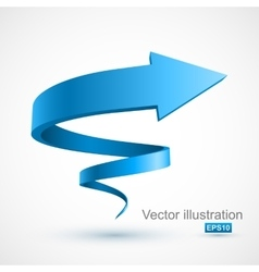 Blue spiral arrow 3D vector image vector image