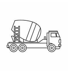Concrete mixer truck icon outline style vector image