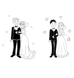 Doodle couple on wedding ceremony vector image vector image