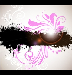 grunge banner with floral background vector image vector image