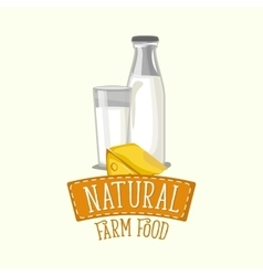 Painted logo design of dairy products with frame vector image
