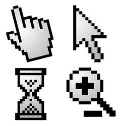 Pixelated computer cursors vector image