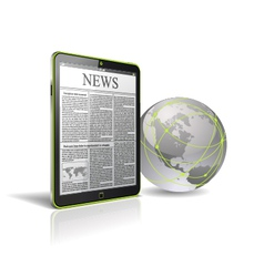 generic tablet pc with globe vector image vector image
