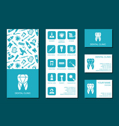 template of flyer and business cards for dental vector image