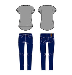 womens jeans and shirt vector image