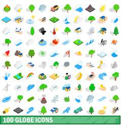 100 globe icons set isometric 3d style vector image