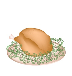 A Plate of Delicious Roast Turkey and Herbs vector