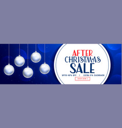 after christmas sale banner design with xmas balls vector image