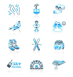 Alpine resort icons vector image