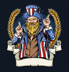 American man with mustache and beard wearing coat vector