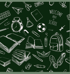 back to school hand drawn seamless pattern vector image